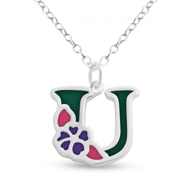 925 sterling silver necklace Colored Initial Letter U with Flower