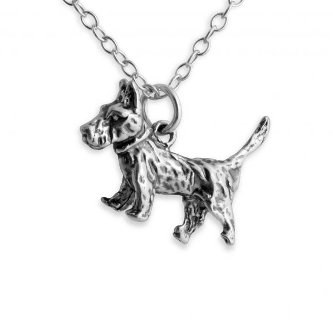 925 sterling silver necklace Solid 3D Cute Terrier Dog Puppy Pet