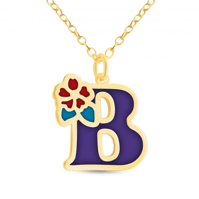 Gold plated necklace Colored Initial Letter B with Flower