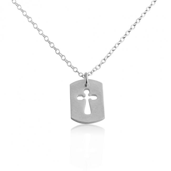 925 sterling silver necklace Cross Dog Tag Pendant