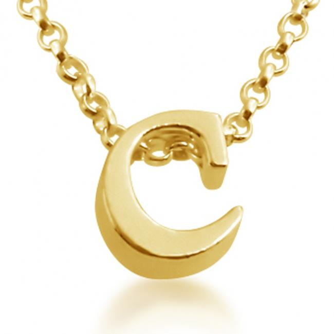 Gold plated necklace Initial Letter C Personalized Symbols & Letters Serif Font