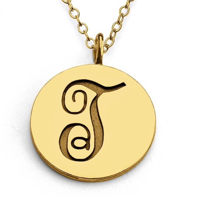 Gold plated necklace T Script Letters