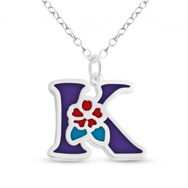 925 sterling silver necklace Colored Initial Letter K with Flower