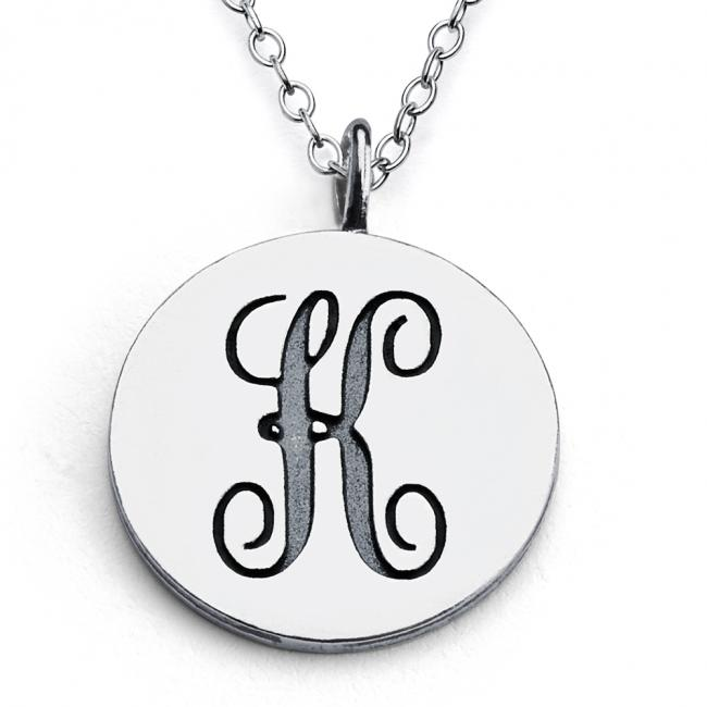 925 sterling silver necklace K Script Letters