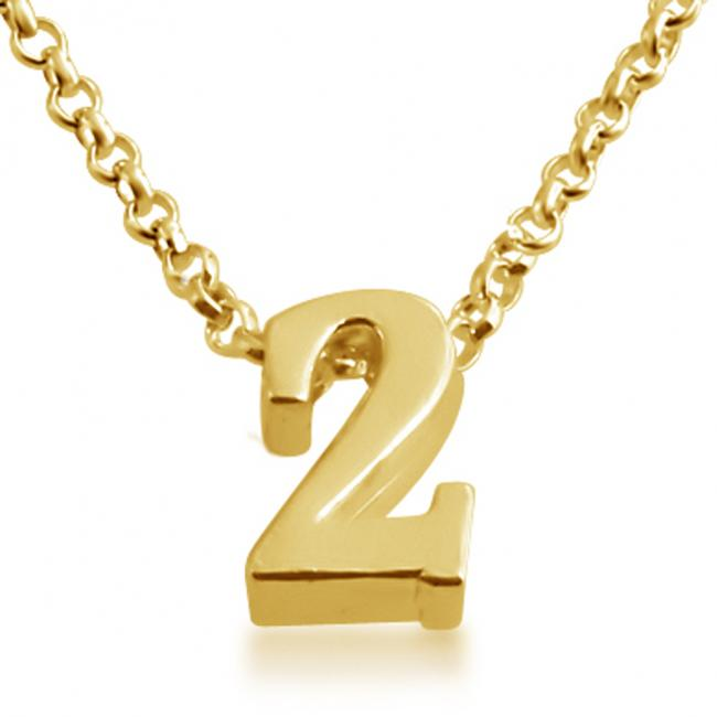 Gold plated necklace Initial Letter 2 Personalized Symbols & Letters Serif Font
