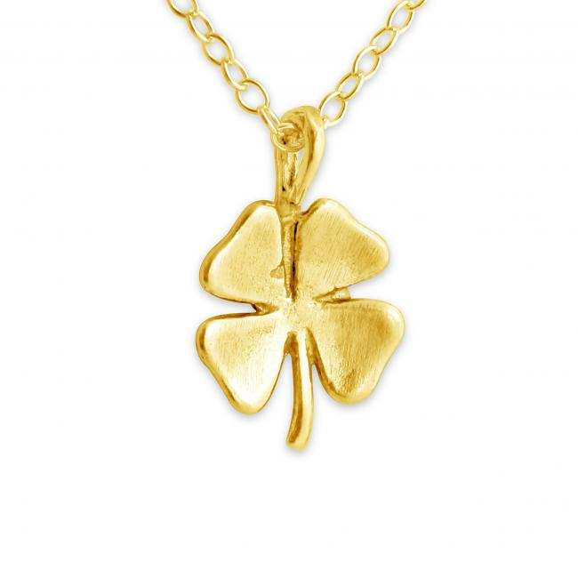 Gold plated necklace Four Leaf Clover Irish Lucky