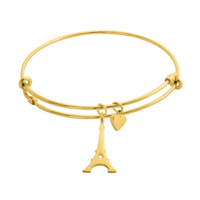 Gold plated bracelet Love Paris Adjustable Wire Bangle