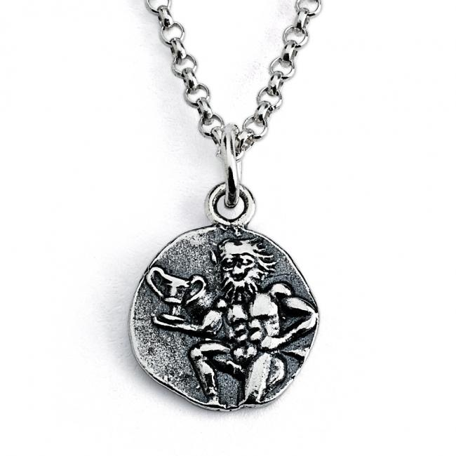 925 sterling silver necklace Replica Satyr Greek God Ancient COIN