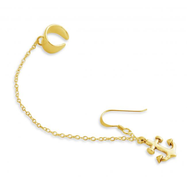 Gold plated earrings Drop Dangle Anchor Ear Cuff Wrap