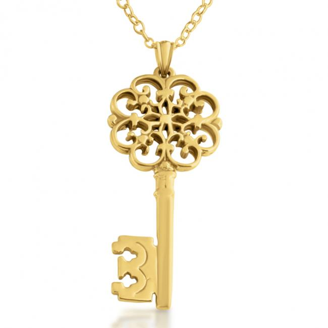 Gold plated necklace Filigree Key