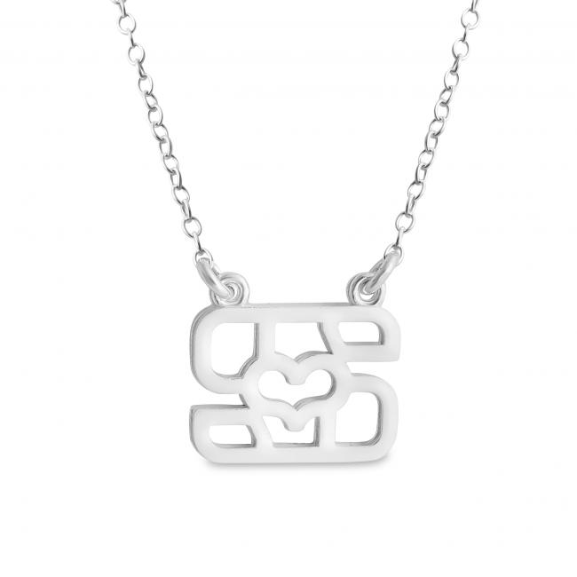 925 sterling silver necklace Initial Letter S with Heart Sideways