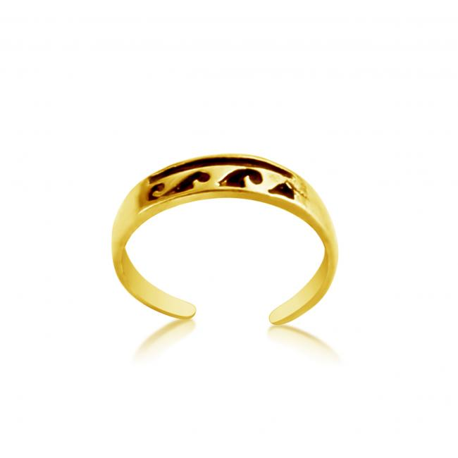 Gold plated ring Stylized Waves Adjustable Toe Ring