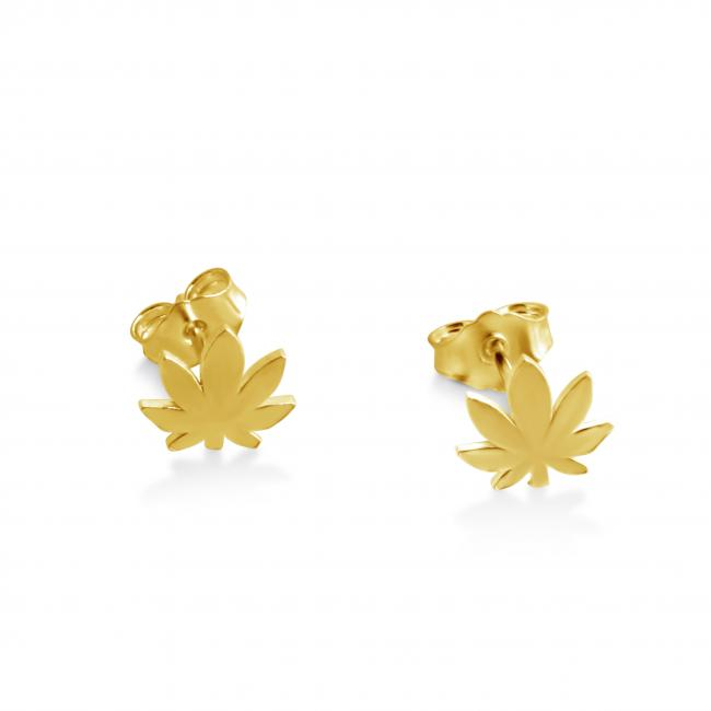 Gold plated earrings Canabis