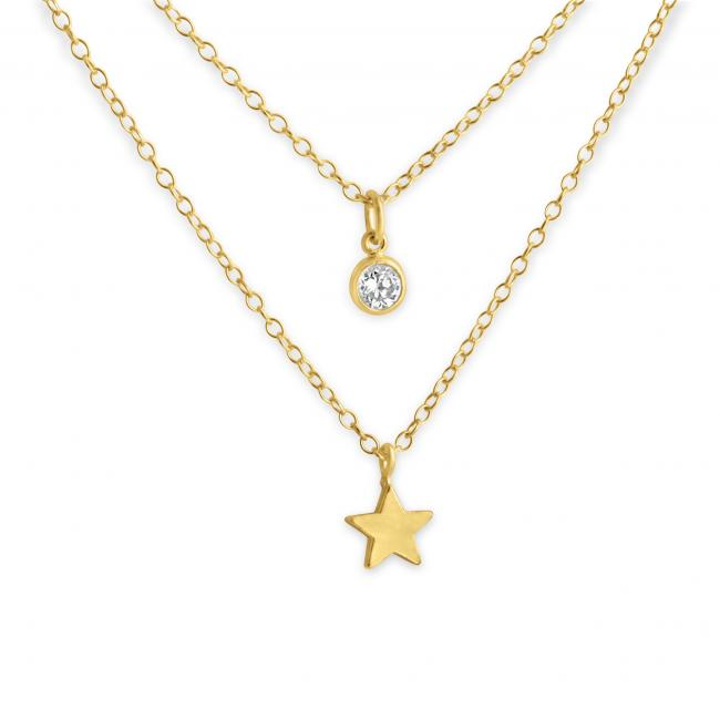 Gold plated necklace Tiny Star and CZ w/ Double Chain
