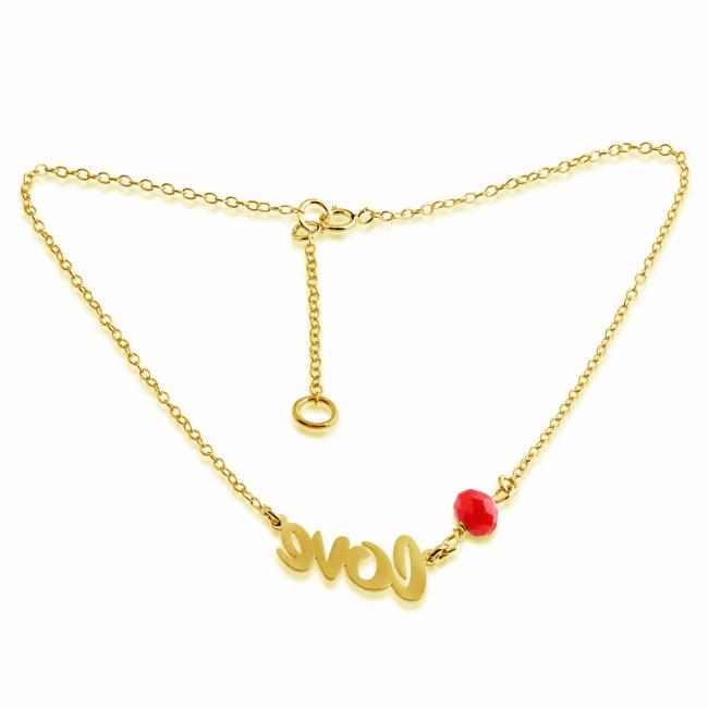 Gold plated anklet Love Charm Pendant Anklet w/ Red Agate Bead Gem