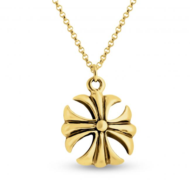 Gold plated necklace Solid Crusader Cross