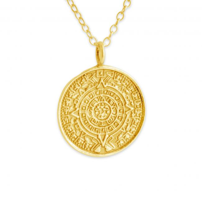 Gold plated necklace Aztec Calendar