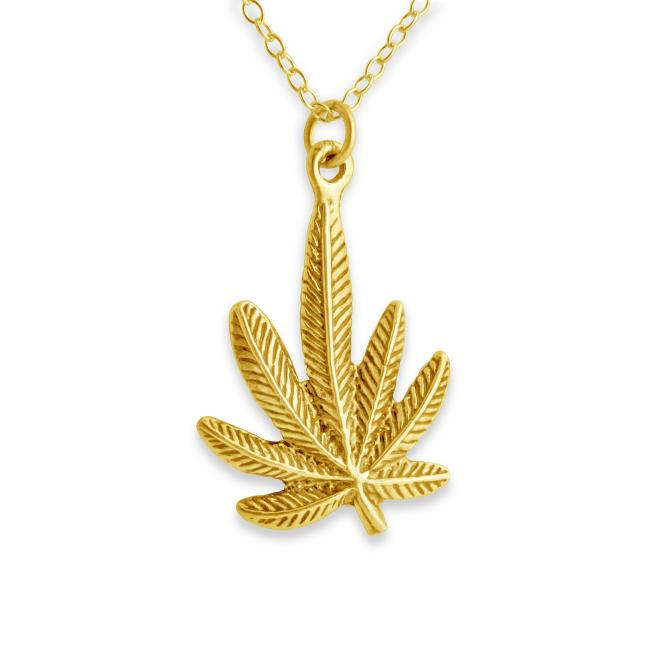 Gold plated necklace Marijuana Cannabis Leaf Plant