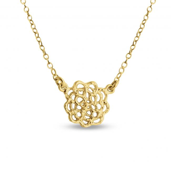 Gold plated necklace Filigree Lotus Blossom Flower