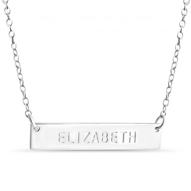 925 sterling silver necklace Name Bar Elizabeth