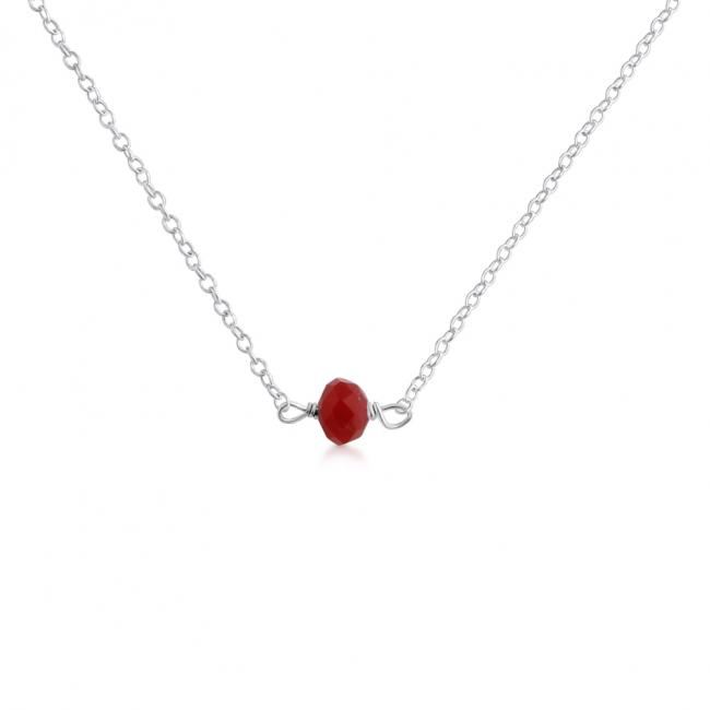 925 sterling silver necklace Red Gem Stone Pendant