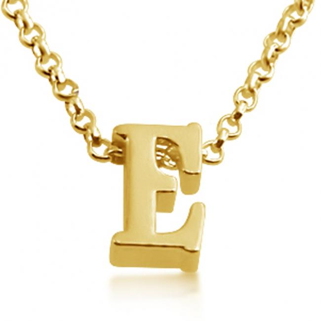 Gold plated necklace Initial Letter E Personalized Symbols & Letters Serif Font