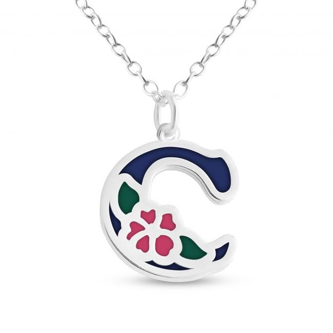 925 sterling silver necklace Colored Initial Letter C with Flower