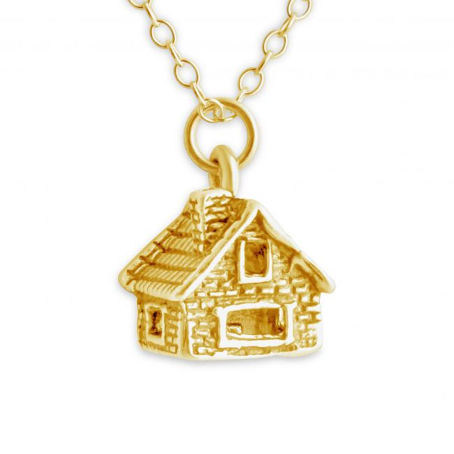 Gold plated necklace 3D Log Cabin House
