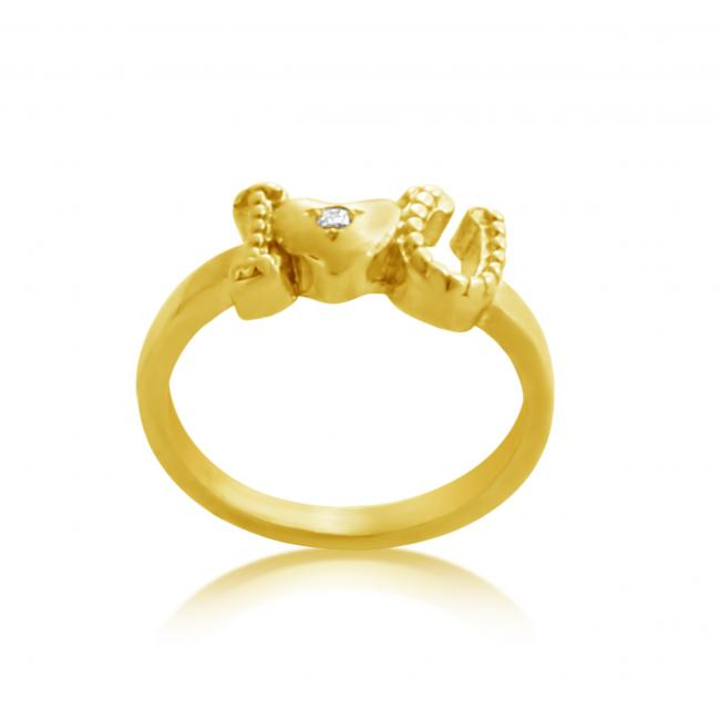 Gold plated ring 2mm (0.03 ct. tw) Diamond Texture ILOVEU w/ Heart
