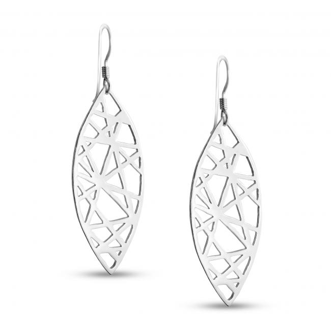 925 sterling silver earrings Abstract Mandorla Drop Dangle Hook