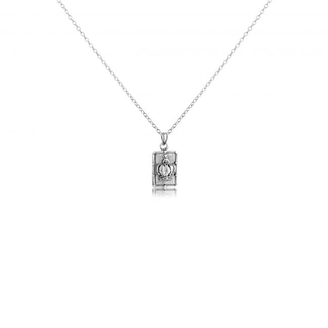 925 sterling silver necklace Royal Crown Dog Tag