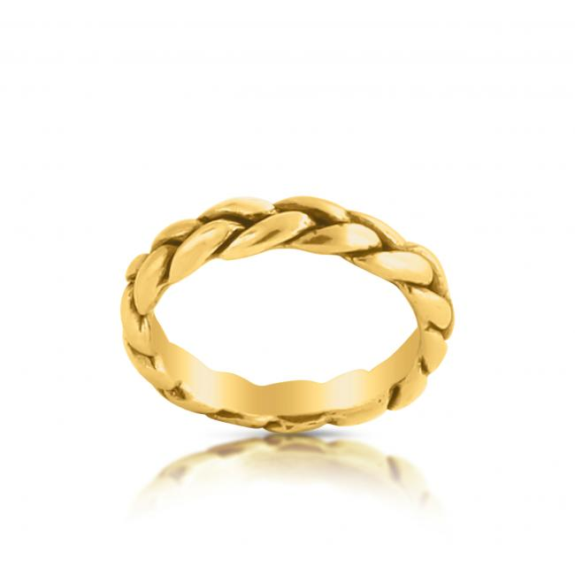 Gold plated ring Thick Braided Ring