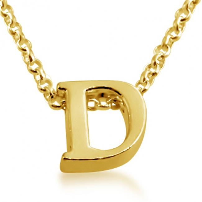 Gold plated necklace Initial Letter D Personalized Symbols & Letters Serif Font