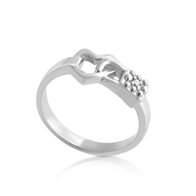925 sterling silver ring 2mm (0.03 ct. tw) Diamond Heart Love-Lock-Down