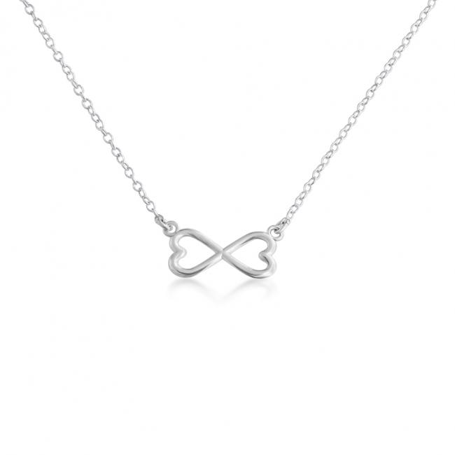 925 sterling silver necklace Double Heart