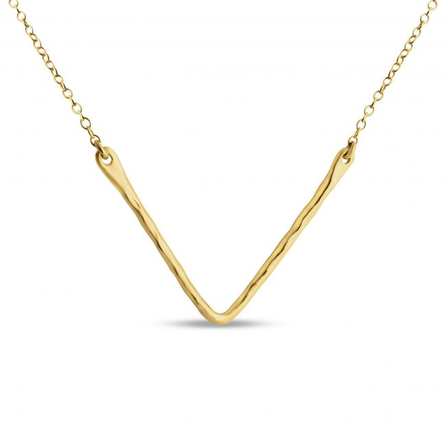 Gold plated necklace Hammered V Sideways