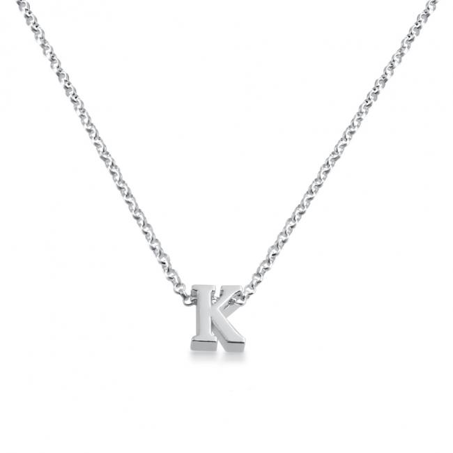 925 sterling silver necklace Initial Letter K Personalized Symbols & Letters Serif Font
