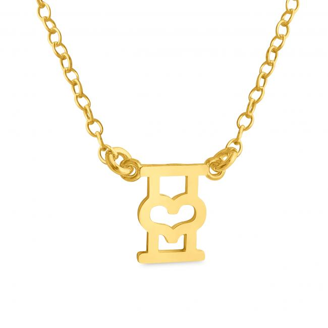 Gold plated necklace Initial Letter I with Heart Sideways