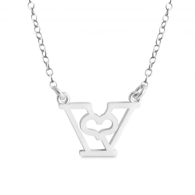 925 sterling silver necklace Initial Letter V with Heart Sideways