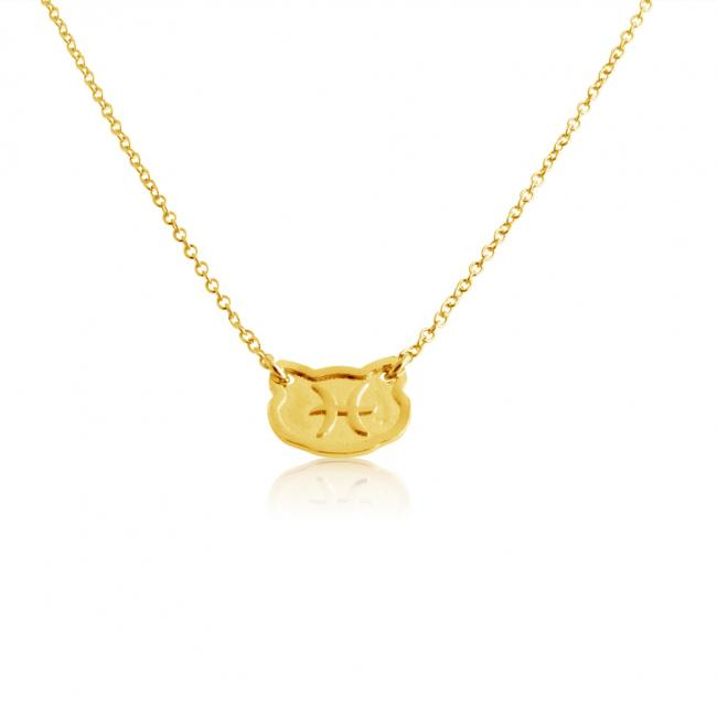 Gold plated necklace Pisces Zodiac Sign