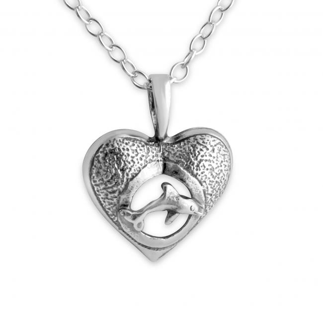 925 sterling silver necklace Hawaiian Nai'a Dolphin & Heart