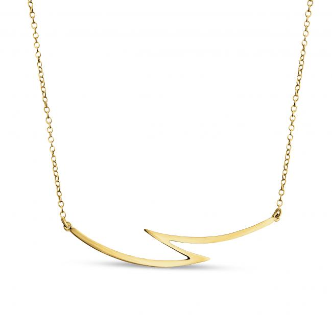 Gold plated necklace Lightning Bolt Sideways