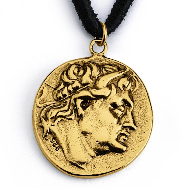 Gold plated necklace Replica King Demetrius I of Macedon Ancient COIN