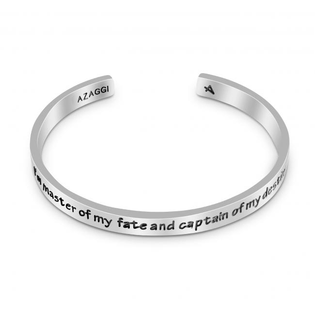 925 sterling silver bracelet Brass/ Rhodium I'm Master of My Fate and Captain of My Destiny Inspirational Cuff Bracelet
