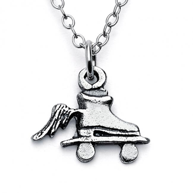 925 sterling silver necklace Roller Skate with Wings