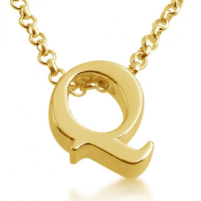 Gold plated necklace Initial Letter Q Personalized Symbols & Letters Serif Font