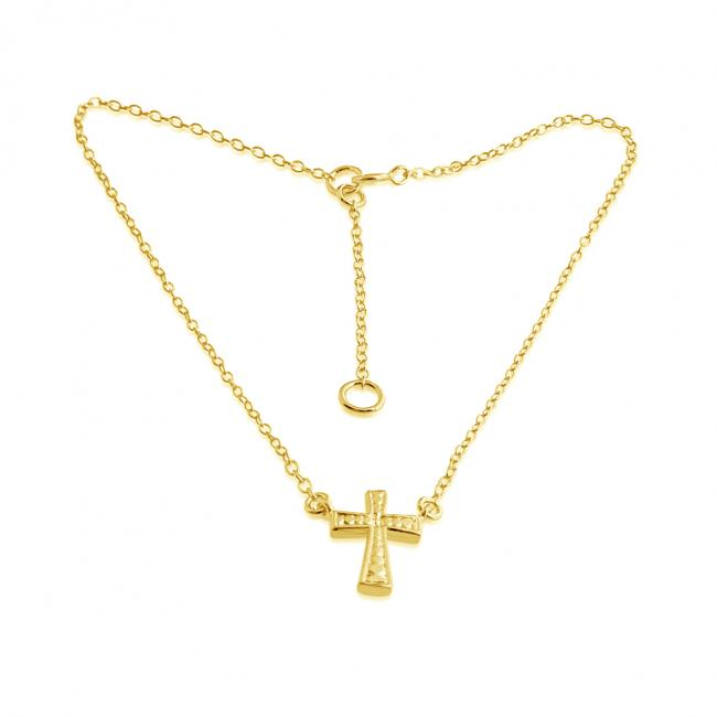 Gold plated anklet Hand Crafted Cross Charm