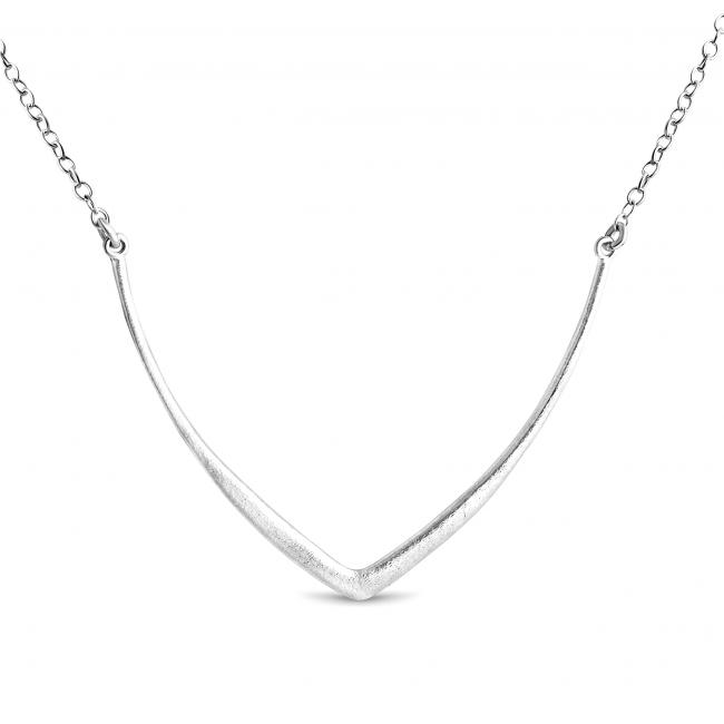 925 sterling silver necklace Textured Curved V Sideways