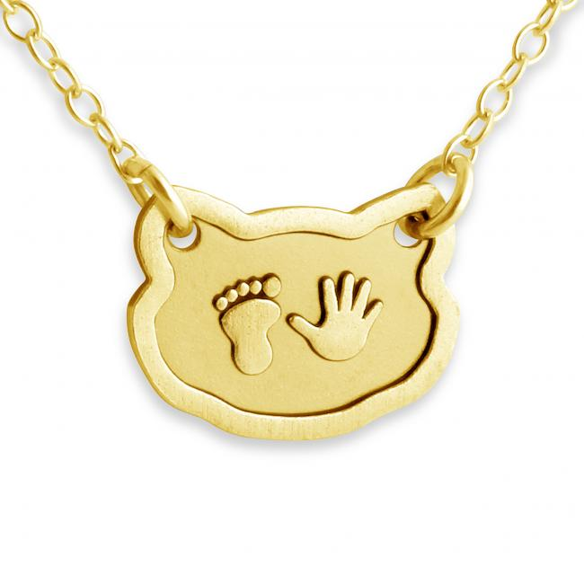 Gold plated necklace Baby Foot & Hand Print