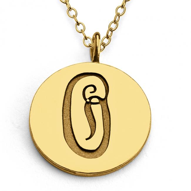 Gold plated necklace O Script Letters